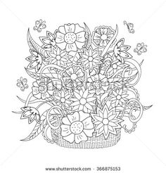 A Basket Some Flowers And Good Moment For Coloring Page From The Gallery Vegetation Artist Celine