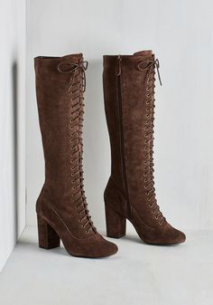 Landslide Victorian Boot - Brown, Solid, Urban, Steampunk, Fall, Best, Lace Up, Chunky heel, Calf, Mid, Leather, Suede