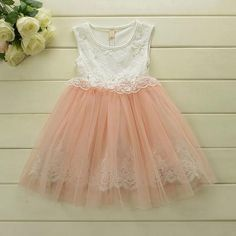 dad5234fb311d Blush Pink   Ivory Tulle Lace Girl Dress - flower girl wedding dress
