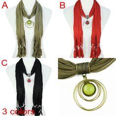 Jewel Beads Pendant Scarf Necklace with Multistrand Tassel, NL-1622 #ScarvesWraps