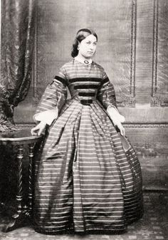 Horizontal stripe and velvet trim on sleeves and bodice (only for young lady?)