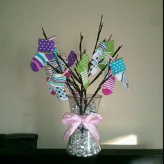 Baby sock tree for a centerpiece