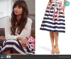 """Tahani's Striped & Floral Print Skirt on """"The Good Place"""" 