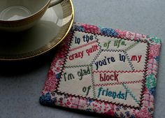 Quotable Mini QUILT-----Quotable MUG RUG (Finished size 5x 5square) In the HOOP Machine Embroidery & Applique Design.  ♥♥ PLEASE READ ♥♥