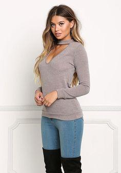 Mocha Plunge Choker Sweater Top