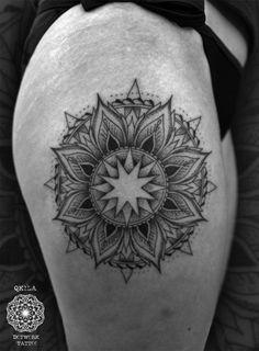 Dotwork tattoo, mandala, sun - Qkila