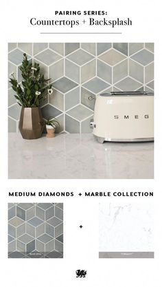 What's your best shape for tile in your backsplash? There are so many options to choose from that will pair beautifully with your Cambria quartz countertops. The neutral hues in our Marble Collection pair well with bold motifs like medium diamonds, creati Kitchen Redo, Kitchen Tiles, Kitchen Modern, Kitchen Backslash, Basic Kitchen, Kitchen Cupboard, Küchen Design, Home Design, Interior Design