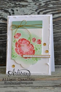 handmade card from nice people STAMP!: Birthday Blooms ... lovely emboss resist on tag ...