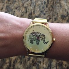 Elephant Big Face Gold Watch Beautiful watch brand new! Perfect with any outfit  gold color wristband. Accessories Watches