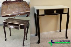 Furniture makeover. Used General Finishes Milk Paint and a AeroJet F4 HVLP turbine sprayer.