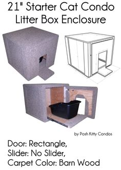 "21"" Starter Cat Condo and Litter Box Enclosure Door: Rectangle, Slider: No Slider, Carpet Color: Barn Wood by Posh Kitty Condos   - Price: $229.95 - #catlitterboxfurniture #cat #litter #box #furniture - http://www.catbedandtoy.com/cat-litter-box-furniture"