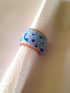 Beach Wedding Napkin Rings Blue Serviette holders by Essenziale