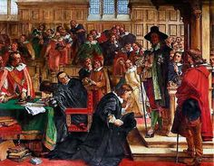 The attempted arrest of the 5 members of Parliament by King Charles I on 4th January 1642, the incident that prompted King Charles to leave London, and triggered the English Civil War. http://www.britishbattles.com/english-civil-war/battle-edgehill.htm