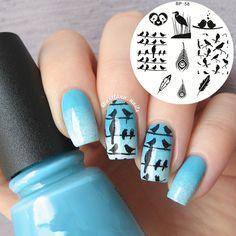 Carino Uccelli Piuma Nail Stamp Piastre di Arte Del Chiodo Che Timbra Piatto di Immagine Template NATO PIUTTOSTO BP58