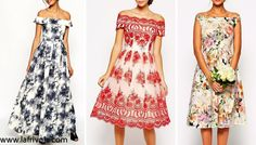 midi and maxi off the shoulder bardot prom dress in lace or floral print
