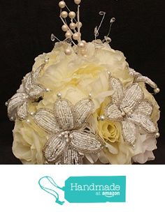 Ivory Beaded Lily Wedding BRIDAL Bouquet ~ Ivory and White with Peonies and Roses. Unique French beaded flowers and beaded sprays ~ Can also be used for centerpiece or ceremony flowers! http://www.amazon.com/dp/B017PMLNAQ/ref=hnd_sw_r_pi_dp_4xNpwb19ZKAN8 #handmadeatamazon