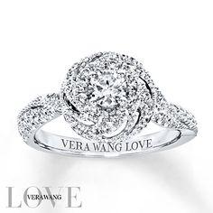 Kay - Vera Wang LOVE Engagement Ring 3/4 cttw Diamonds 14K White Gold