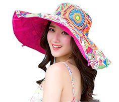 Packable Reversible Large Brim Floppy Sun Hat UPF 50 Sun Protection Travel Beach Hat  Ladies Girls Superb Lightweight Travel Sunhat: extra-wide brim 18cm. Awesome wear for your beach holiday, travel, outdoor activites swimming cycling trekking camping golg hiking dog walking and more  Stylsih Reversible Ladies Flora Hat: multicolor flower patterned on one side, another is plain color, you can wear the flora side outside or inside to easily complet with all your outfit, looks how beauti...