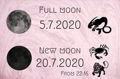 july 2020 - CEST (UTC +2) Full Moon July, New Moon, Magic