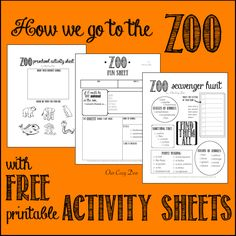 How we go to the zoo -- with FREE printable activity sheets! ~ Our Cozy Den