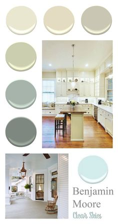 Simple, soft, easy everyday colors that look great in homes from vintage to modern. Paint color palette. Whole home shade selection. Find it at foxhollowcottage.com | Colors via Benjamin Moore | Shown: Clear Skies