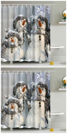 Snowman Printed Waterproof Polyester Shower Curtain