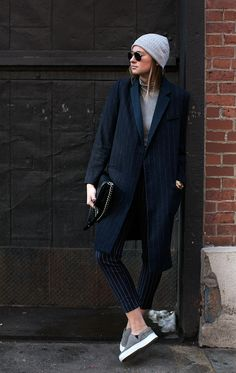 Danielle striping it & snapped by #TheSartorialist! she looks fab and she must be totally chuffed. NYC. #WeWoreWhat