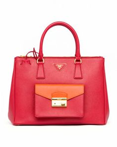 Saffiano Galleria Tote with Pocket, Red/Papaya by Prada at Neiman Marcus.  Spring 2014