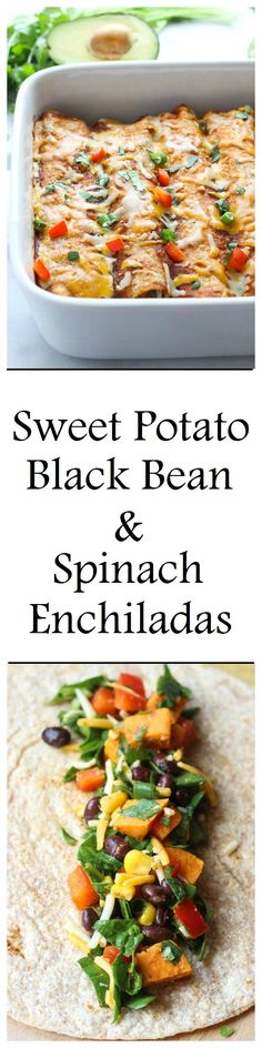 Sweet Potato, Black Bean & Spinach Enchiladas #cleaneating [Heck yes! Minus the cheese!]