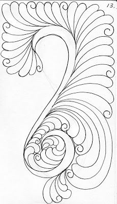 From My Quilters Sketch Book Feather.with a tail This is how I chalk out the feather spine . Quilting Stitch Patterns, Machine Quilting Patterns, Machine Embroidery Applique, Quilt Stitching, Zentangle Patterns, Quilt Patterns, Zentangles, Quilting Stencils, Quilting Templates