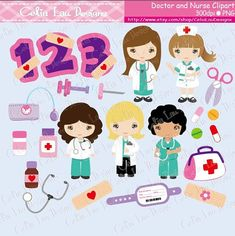 Cute Girls Nurse and Doctor clipart, Career clipart , Doctor Kids , Nurse Kids, Birthday numbers / Numeral clipart / INSTANT DOWNLOAD(CG143)