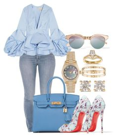 Untitled #494 by scannedbyaaron ❤ liked on Polyvore featuring Armani Jeans, Hermès, Christian Louboutin, Johanna Ortiz, Rolex, Anita Ko, Cartier, Le Specs and Annello