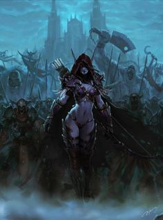 sylvanas windrunner-world of warcraft art Elfa, Fantasy Girl, Dark Fantasy, Lady Sylvanas, Art Warcraft, Warcraft Heroes, Sylvanas Windrunner, Night Elf, Art Night