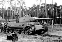 The German main battle tank Pzkpfw Tiger P (ger: Panzerkampfwagen Tiger P) was invented 1942 by Henschel and Porsche. IT got an armarment  of one 88mm KWK 36L/36 main cannon and 2  7,62mm MG34 as secondary. It weight 57t and got an Maybach 12 Zyylinder Ottomotor enginge with 700ps