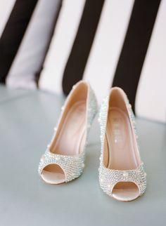 Sparkly Peep Toe Pumps | SMP: http://www.stylemepretty.com/destination-weddings/2013/11/29/ochos-rios-jamaica-wedding-from-christina-mcneill | Photography: Christina McNeill