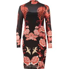 River Island Black floral print mesh bodycon dress (€39) ❤ liked on Polyvore featuring dresses, black, bodycon dresses, women, bodycon dress, tall dresses, floral bodycon dress, long sleeve mesh dress and floral dresses