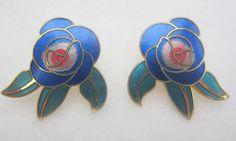"""Vintage Laurel Burch """"Deco Rose"""" Stud Earrings by Framarines on Etsy"""