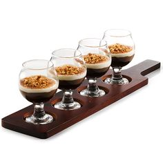 Wooden Tasting Paddle with Dessert in Belgium Beer Taster Glasses