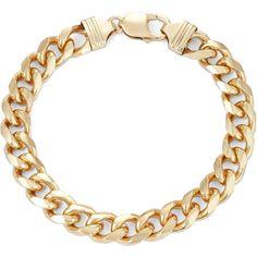 Gold Mens Bracelet - 18kt Gold Over Sterling Silver Square 9.7mm Curb Bracelets #BestMensJewelryGifts #Bracelet