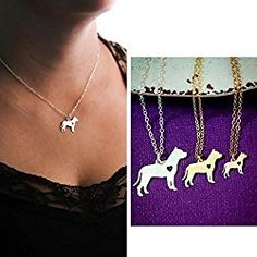 Pitbull Dog Necklace - Staffordshire - IBD - Personalize with Name or Date - Choose Chain Length - Pendant Size Options - Sterling Silver Rose Gold Filled Charm - Ships in 2 Business Days Rose Gold Charms, Dog Necklace, Animal Rescue, Pitbull Animal, Personalized Necklace, Dog Gifts, Pitbulls, Pendants, Chain