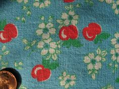VINTAGE FEEDSACK RARE BLUE w/RED APPLES with FLORAL BLOSSOMS