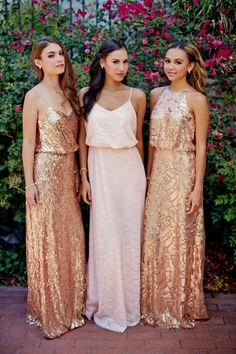 Mismatched gold sequin, gold, and pink sequin Donna Morgan Bridesmaid Dresses for rent at Vow to be Chic