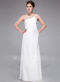 Bridesmaid Dresses - $116.99 - Sheath/Column One-Shoulder Floor-Length Chiffon Bridesmaid Dress With Beading Cascading Ruffles (007026197) http://jjshouse.com/Sheath-Column-One-Shoulder-Floor-Length-Chiffon-Bridesmaid-Dress-With-Beading-Cascading-Ruffles-007026197-g26197