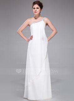 Bridesmaid Dresses - $119.99 - Sheath One-Shoulder Floor-Length Chiffon Bridesmaid Dress With Beading (007026197) http://jjshouse.com/Sheath-One-Shoulder-Floor-Length-Chiffon-Bridesmaid-Dress-With-Beading-007026197-g26197?pos=your_recent_history_5