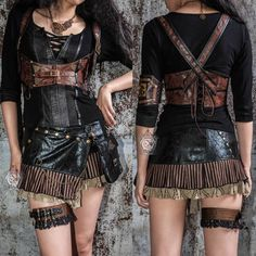 Brown Goth Caribbean Pirate Corset Vests Scene Clothing Store Women