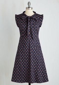 Carry On with Confidence Dress in Elephants. Stay stylishly energized in this navy dress by Mata Traders. #blue #modcloth