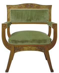 GASPAR HOMAR / Armchair / Circa 1905 / Carved and gilded oak wood with green velvet upholstery Old Chairs, Antique Chairs, Patio Chairs, Antique Furniture, Regency Furniture, Furniture Board, Sofa Furniture, Art Nouveau Furniture, Chairs For Small Spaces