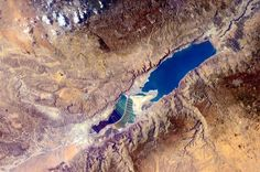 """Dead Sea: the emerged area of lowest elevation on Earth. Samantha Cristoforetti : """"And where I came closest to floating before being weightless!"""" (Photo taken from the International Space Station)"""