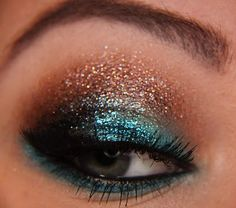 teal and brown glitter