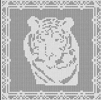 Filet Crochet Patterns - Other Animals - TIGER FILET CROCHET PATTERN Doily Afghan Picture